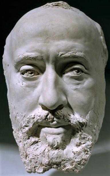 Zacharie Astruc, 1882, Masque de Jean-Baptiste Fauré, sc, 25x17x9, MBA Angers (aR4;aR5;iR23;iR1) = SdAF-1882-4069-9, Le marchand de masques ; statue, plâtre; Faure