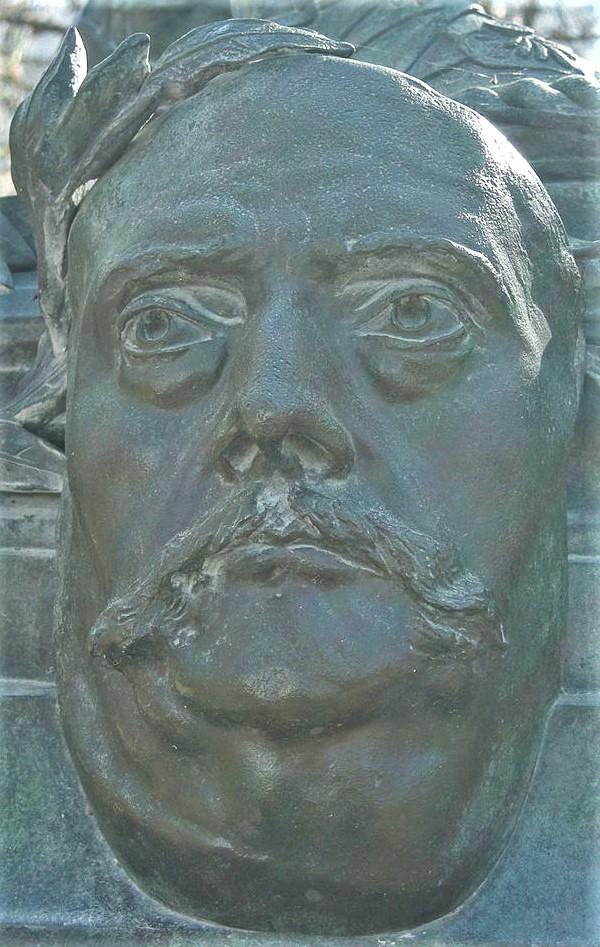 Zacharie Astruc, 1883ca, Mask of Barbey d'Aureville, bronze, xx, Jardin de Luxembourg Paris (iR6;aR18;iR1) =SdAF-1883-3293-1, Le Marchand de masques; statue, bronze; B. d'Aureville. Compare: SRC-1897-3.