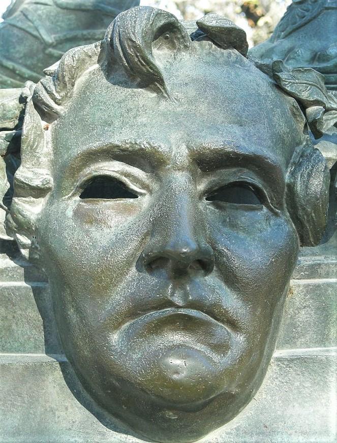 Zacharie Astruc, 1883ca, Mask of Berlioz, bronze, xx, Jardin de Luxembourg Paris (iR6;aR18;iR1) = SdAF-1883-3293-4, Le Marchand de masques; statue, bronze; Berlioz