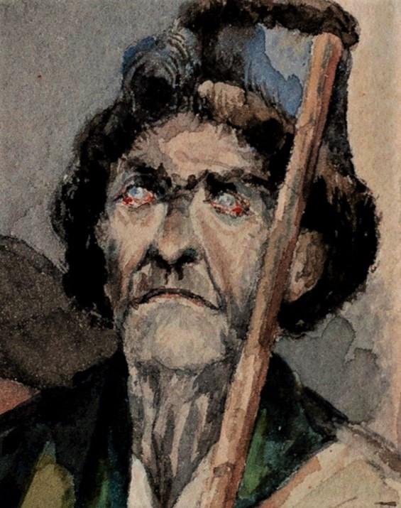 Zacharie Astruc, 18xx, Vieillard (berger Espagnol(?); à Octave Lacroix; detail), wc, 12x10, private (iR10;iR94;iR4)