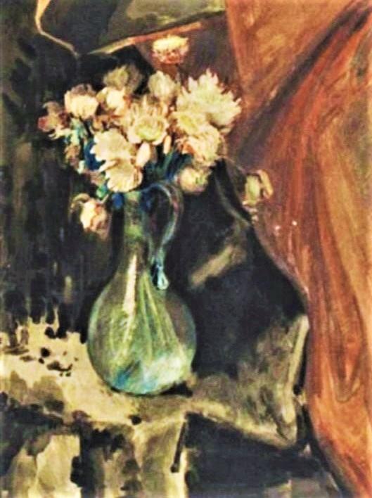 Zacharie Astruc, 18xx, le bouquet, wc gouache, 61x45, A2004/04/07 (iR13;iR10;iR1). Compare: SdAF-1899- 2058, Le vase vénitien; aquarelle.