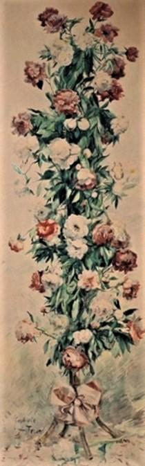 Zacharie Astruc, 1900, Panneau décoratif, pivoines, wc, 235x20, MBA Angers (aR4;iR1) Compare: SdAF1898-2132, Pivoines dans un bambou du Japon; aquarelle.