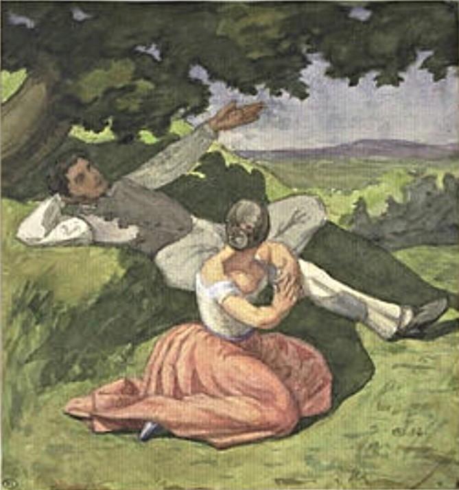 Léon Auguste Ottin, 1854, Couple se reposant dans la campagne, wc, 20x27, Louvre (iR23;M5;R2,p122) Compare 1IE-1874-129, Après la messe à la campagne.