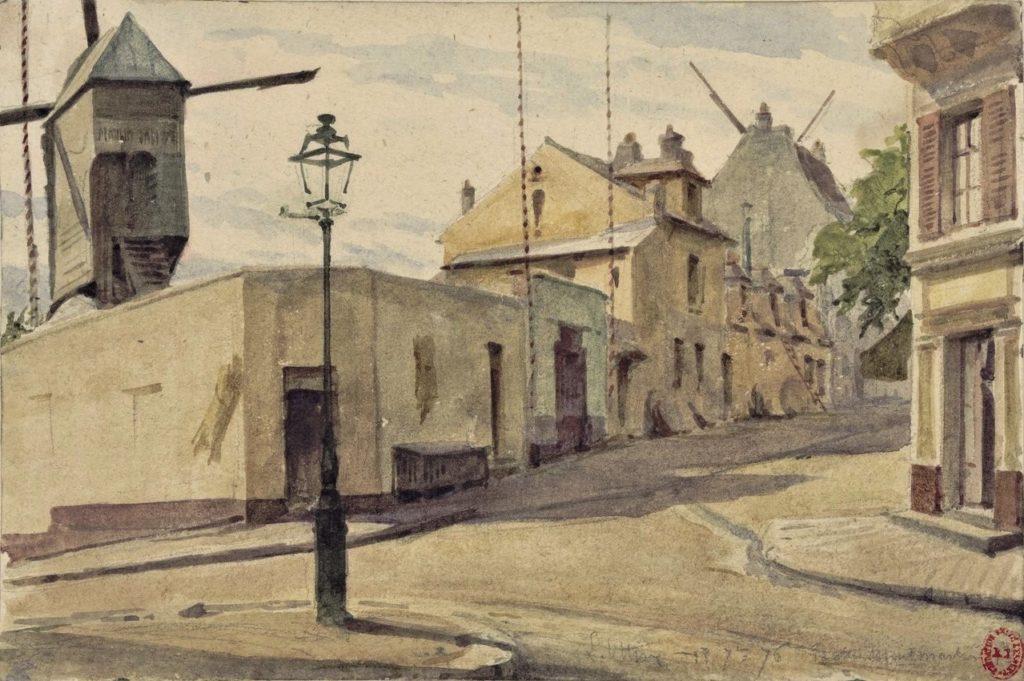 L(éon) Ottin, 1876/07/18, Butte Montmartre - Grande Carrières, wc, 15x22, BNF (iR40;iR10;iR120;HW) Compare: 2IE-1876-195, 7e Entre les rues des Carrières et Marcadet and 1IE-1874-131, La butte Montmartre, versant sud.