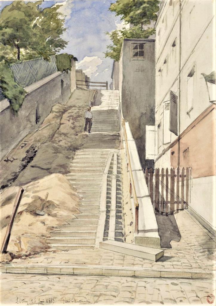 Ottin L(eon), 1883/06/02, Escalier de la rue du Mont-Cenis versant le nord (Montmartre, Paris), dr wc, 35x25, BNF (iR10;iR40) Compare: 2IE-1876-189, La rue du Mont-Cenis (Butte Montmartre); 2IE-1876-195, 3e Rue du Mont-Cenis.