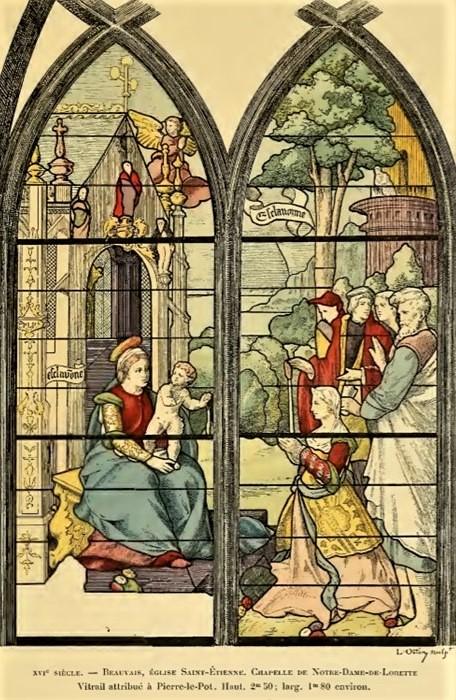 Léon Auguste Ottin, S1903-3640, fragment du vitrail de Notre-Dame-de-Lorette, aquarelle. Probably: 16th, xx, vitrail, 250x180, église Saint-Etienne, Beauvais (aR7,p244+;iR1)