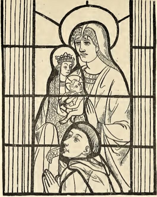 Léon Auguste Ottin, S1903-3641, Vitraux de la Cathédrale de Quimper, XVe siècle; dessin. Maybe: 15th century, Immaculée conçeption, dr vitrail, 54x68, Cathédrale Quimper (aR7,p45;iR1)