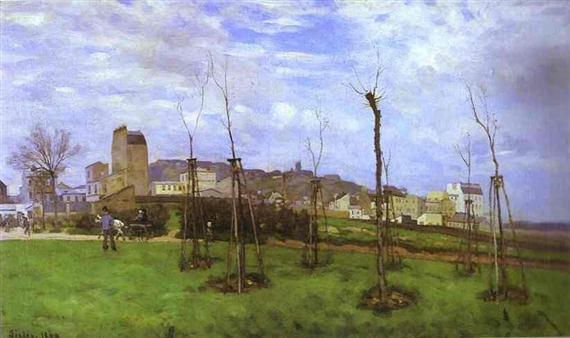 Alfred Sisley, 1869, CR12, View of Montmartre, from the Cité des Fleurs aux Batignolles, 70x117, MdGrenoble (iR11;iR2;R53,p48;R8,p137;R166,p98;R129,no12). Maybe: S1869-R