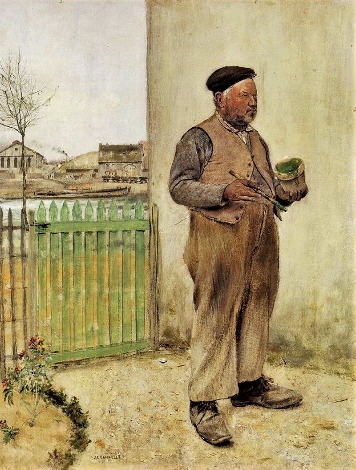 Jean-François Raffaëlli, 6IE-1881-122, Bonhomme venant de peindre sa barrière. Probably: 1xxx, Man Having Just Painted His Fence, mixed, 65x50, private (iR2;R2,p338;R1,p434)