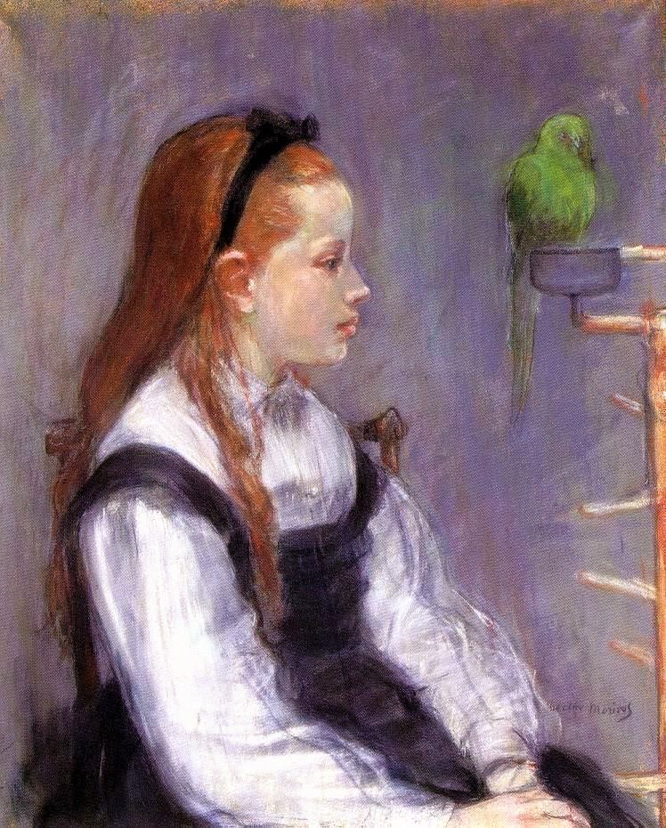 Berthe Morisot, 1IE-1874-108, Portrait de Mademoiselle M.T. (=Madeleine Thomas; pastel). Now: 1873ca, CR426, Young Girl with a Parrot, pastel, 60x50, NY private