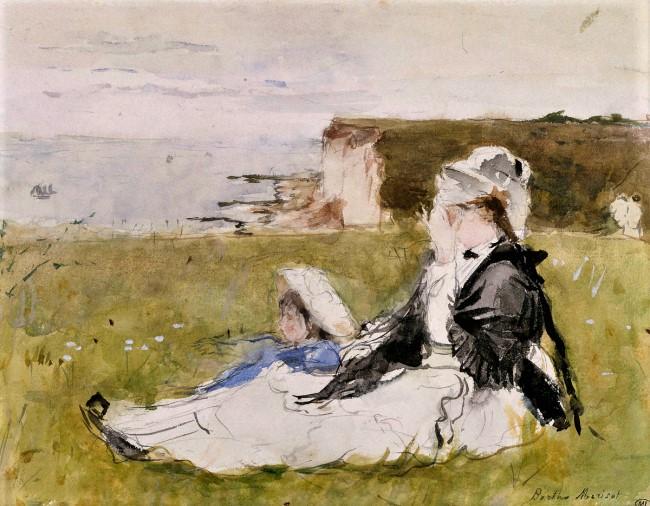 Berthe Morisot, 1IE-1874-110, Sur la falaise (aquarelle). Now: 1873, CR622, On the cliff, wc, 18x23, Orsay