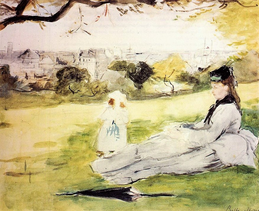 Berthe Morisot, 1IE-1874-112, ... (no name; aquarelle). Perhaps: 1871, CR615, Woman and Child Seated in a Meadow, wc, 21x24, private