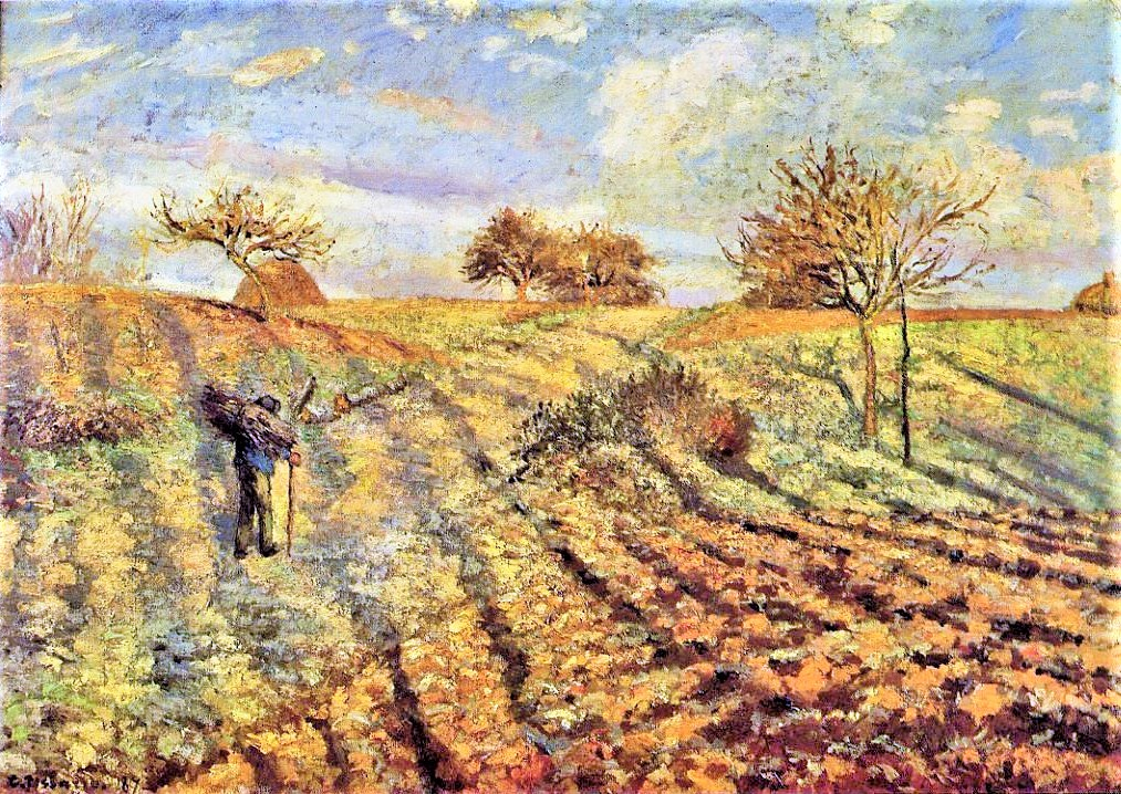 Camille Pissarro, 1IE-1874-137, Gelée blanche. Now: 1873, CCP285, hoarfrost at Ennery, 65x93, Orsay