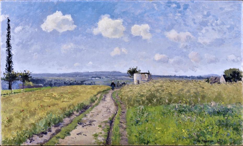 Camille Pissarro, 1IE-1874-140, Une Matinée du mois de juin = 1873, CCP312, Morning in June, Saint-Ouen-l'Aumône, 55x91, SKh Karlsruhe (iR10;iR2;iR59;R116,no312;R126,no224;R87,p250;R90II,p27;R2,p122;M57,no2539)