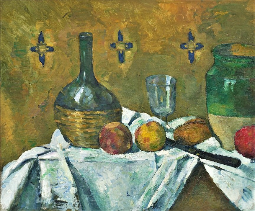 Paul Cézanne, 3IE-1877-17-19, Nature morte. Uncertain: 1877ca, CR214, Still Life, Flask, Glass, and Jug, 46x55, Guggenheim NY (iR2;R48,no212;R2,p204)