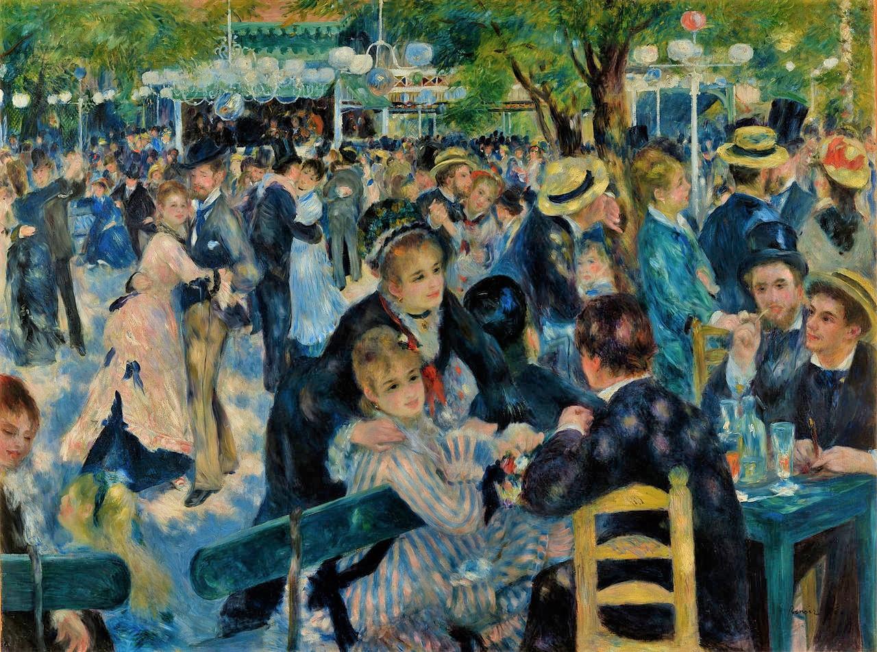 August Renoir, 3IE-1877-186, Bal du moulin de la Galette. Now: 1876, CR209, Bal du Moulin de la Galette, 131x175, Orsay (iR10;iR8;R30,no249;R31,no40;R90II,p81+100;R2,p188;R2,p206+236;R108,no209;M1). Caillebotte bequest.