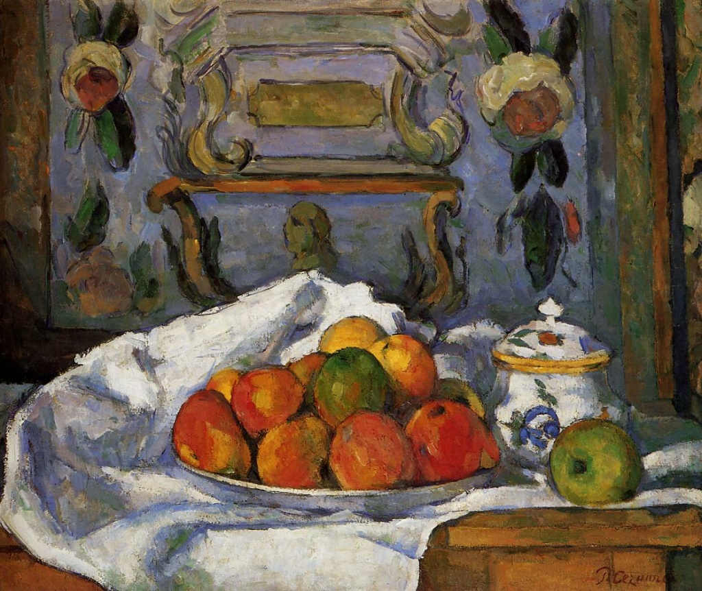Paul Cézanne, 3IE-1877-19, Nature morte. Maybe: 1875-7ca, CR207+FWN742, Dish of Apples, 46x55, Metropolitan (iR2;iR59;iR194,no742;R189,no207;R90II,p87;R2,p203;R48,no206)
