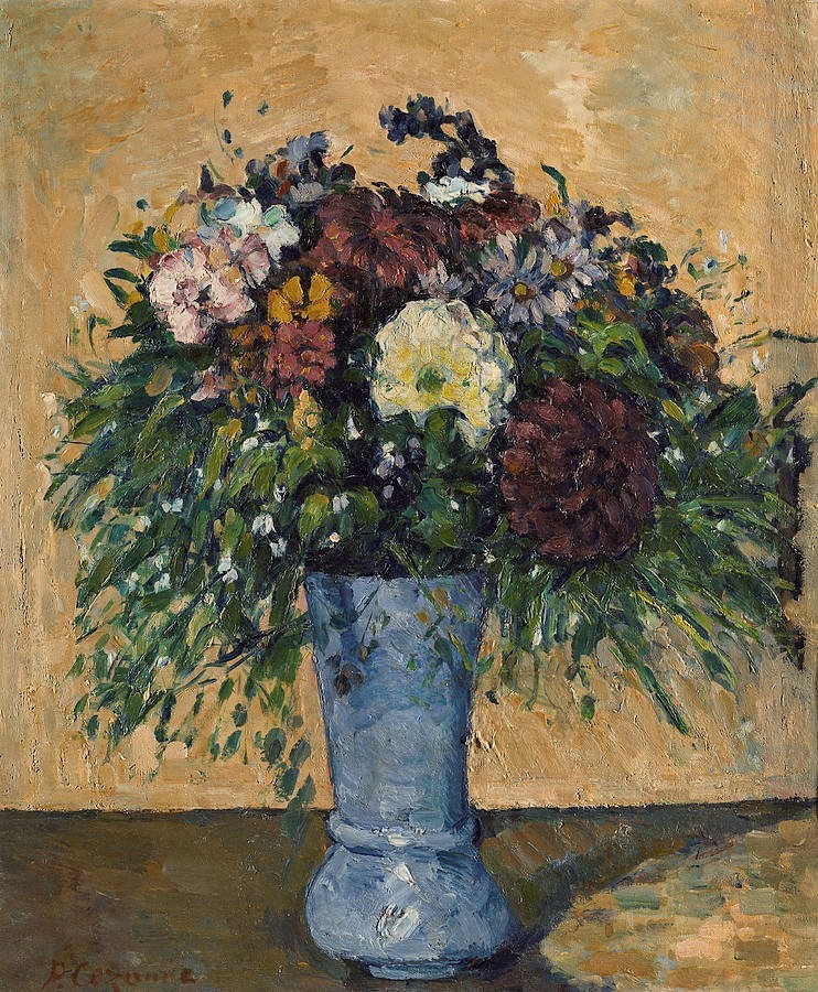 Paul Cézanne, 3IE-1877-20, Étude de fleurs. Probably: 1873-77, CR182+FWN732, Flowers in a Blue Vase, 55x46, Hermitage (iR10;iR114;iR2;iR59;iR194,no732;R90II,p187;R2,p203;R48,no215)