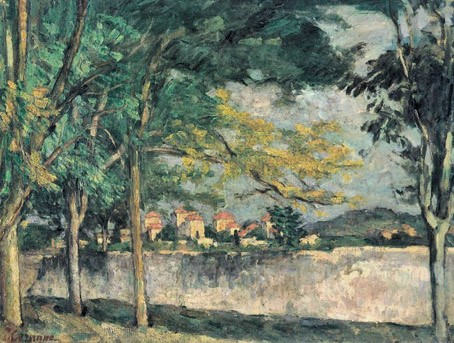 Paul Cézanne, 3IE-1877-22, Paysage; Étude d'après nature. Probably: 1875-6, CR158+FWN102, (La Route) Le mur d'enceinte, 50x65, private (iR59;iR194,no102;R189,no158;R90II,p70+87;R2,p203;R48,no159)