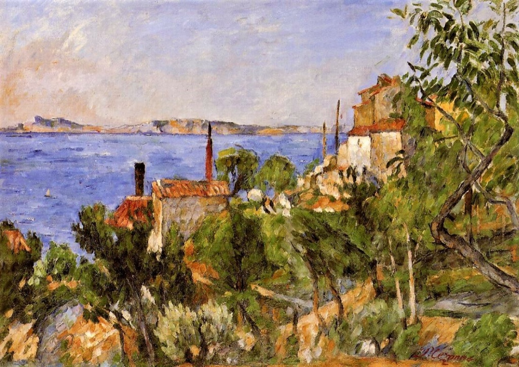 Paul Cézanne, 3IE-1877-23, Paysage, Etude d'après nature. Probably: 1876ca, CR168+FWN96, The Sea at L'Estaque, 42x59, Zurich FR (iR2;iR59;iR194,no96;R189,no168;R90II,p71+87;R2,p214;R48,no172;R163,p67)