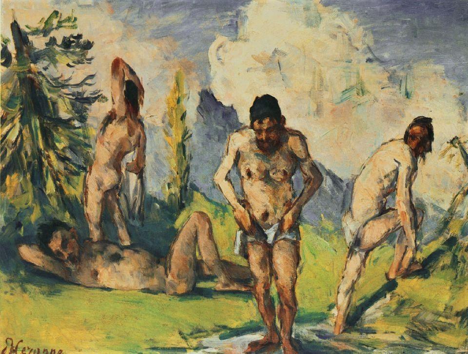 Paul Cézanne, 3IE-1877-26, Les baigneurs, étude, projet de tableau. Now: 1875-76, CR273, Bathers (four men), 33x41, xx