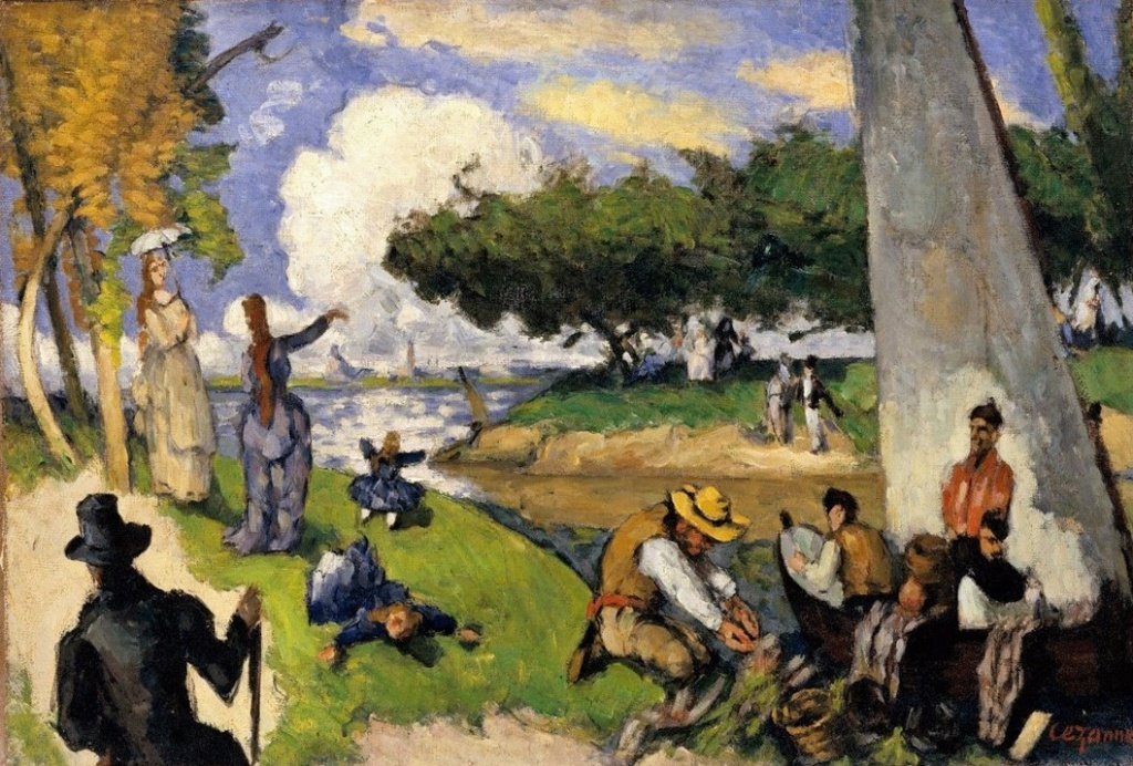 Paul Cézanne, 3IE-1877-32+hc, Scène Fantastique, Les pêcheurs. Now: 1873-75ca, CR243+FWN634, The Fishermen (Fantasy Scene; a day in July), 54x81, Metropolitan (iR2;iR194,no634;R189,no243;R2,p213;R90II,p72+89;R48,no261)