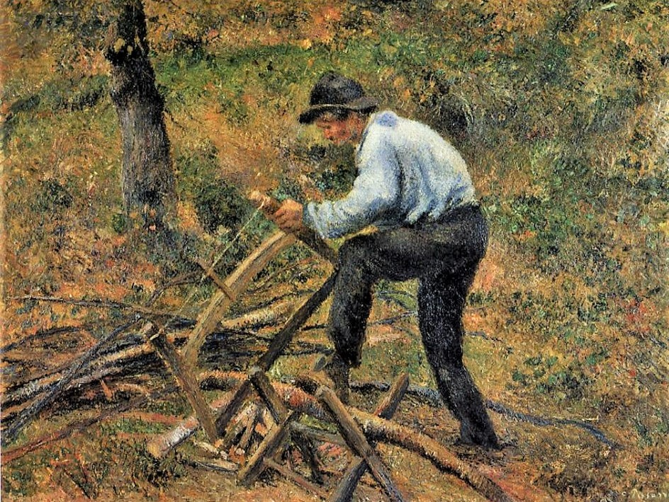 Camille Pissarro, 5IE-1880-128, Le scieur de bois. Now: 1879, CCP610, Père Melon Sawing Wood, 89x116, private