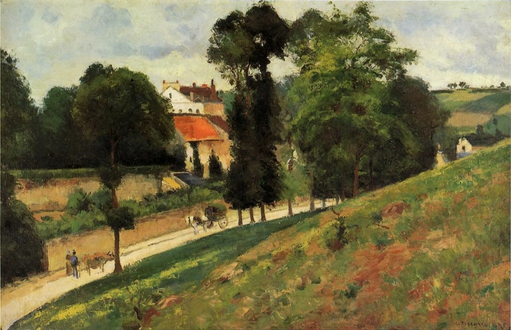Camille Pissarro, 5IE-1880-132, Paysage, route d'Ennery. Now: 1875, CCP408, View of the Maison des Mathurins (The Saint-Antoine Road at l'Hermitage), 52x81, Km Basel