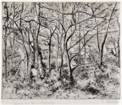 Camille Pissarro, 5IE-1880-139-2, Un cadré, Quatre états du paysage (le jour et la nuit). Perhaps: 1879, Delteil16, Wooded landscape at L'Hermitage, Pontoise, etch, 22x27, MFA Boston