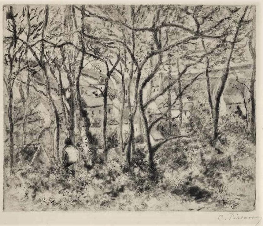 Camille Pissarro, 5IE-1880-139-4, Un cadré, Quatre états du paysage (le jour et la nuit). Probably: 1879, Delteil16, Paysage sous bois à l'Hermitage, aquatint, 22x27, A2017/03/29