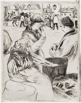 Camille Pissarro, 5IE-1880-140-4, Un état, pointe sèche. Marchande des marrons. Maybe: 18xx, Delteil15?, xx, etch, 21x16, xx