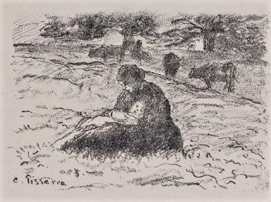Camille Pissarro, 5IE-1880-141-3, Un état, vache et figure Compare: 1874, Delteil58?, Femme et enfant dans les champs, litho, 16x22, A2016/04/15