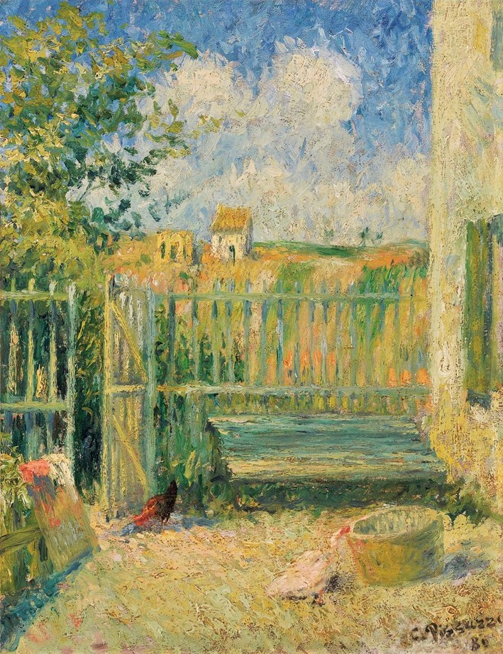 Camille Pissarro, 6IE-1881-66, Une cour à l'Hermitage. Maybe: 1880, CCP634, La cour de la maison Rondest, Pontoise, 35x27, A2010/11/04