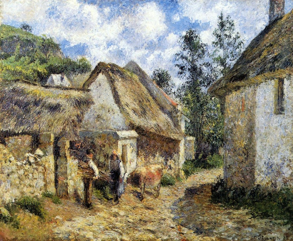 Camille Pissarro, 6IE-1881-68, Chaumières au Val Hermé. Probably: 1880, CCP632, Rue des Roches at Le Valhermeil, (Thatched Cottages and a Cow), 60x73, private