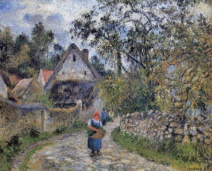 Camille Pissarro, 6IE-1881-69, Chaumières au Val Hermé. Perhaps: 1880, CCP631, Cottages at le Valhermeil, Auvers-sur-Oise, 59x73, private