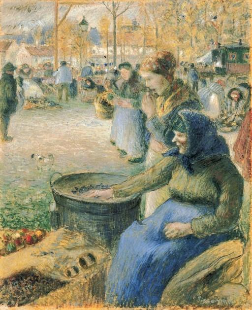 Camille Pissarro, 6IE-1881-86, La foire de la Saint-Martin à Pontoise, gouache. Maybe: 1881, La marchande de marrons, foire de la Saint-Martin, gouache, 39x47, A2001/05/09