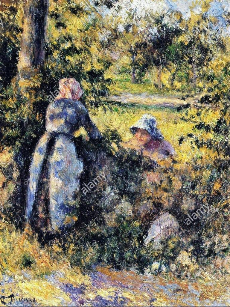 Camille Pissarro, 7IE-1882-101, Causerie , étude. Compare: 1881ca, CCP651, Peasant woman chatting, 35x27, private