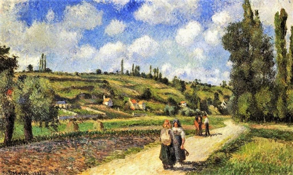 Camille Pissarro, 7IE-1882-102, Route de Pontoise à Auvers. Now: 1881, CCP645, Côte du Valhermeil, Auvers-sur-Oise, 56x92, IM Jerusalem