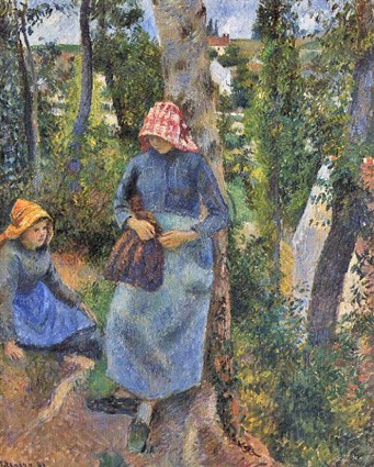 Camille Pissarro, 7IE-1882-103, Etude de figure en plein air, temps gris. Now: 1881, CCP654, Two young peasant girls chatting under Trees, 81x65, private