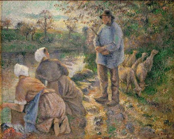 Camille Pissarro, 7IE-1882-108, Le berger et les laveuses. Now: 1881, CCP665, Shephard and women washing clothes at Montfoucault, 65x80, KM Giza Egypt