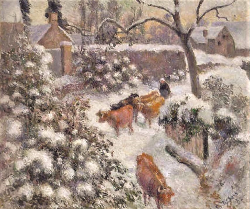 Camille Pissarro, 7IE-1882-109, Effet de neige. Now: 1882, CCP669, Effect of snow with cows at Montfoucault, 46x55, A1999/05/12