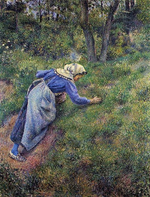 Camille Pissarro, 7IE-1882-110, Jeune fille faisant de l'herbe. Now: 1881, CCP657, Peasant Woman Gathering Grass, 116x90, private
