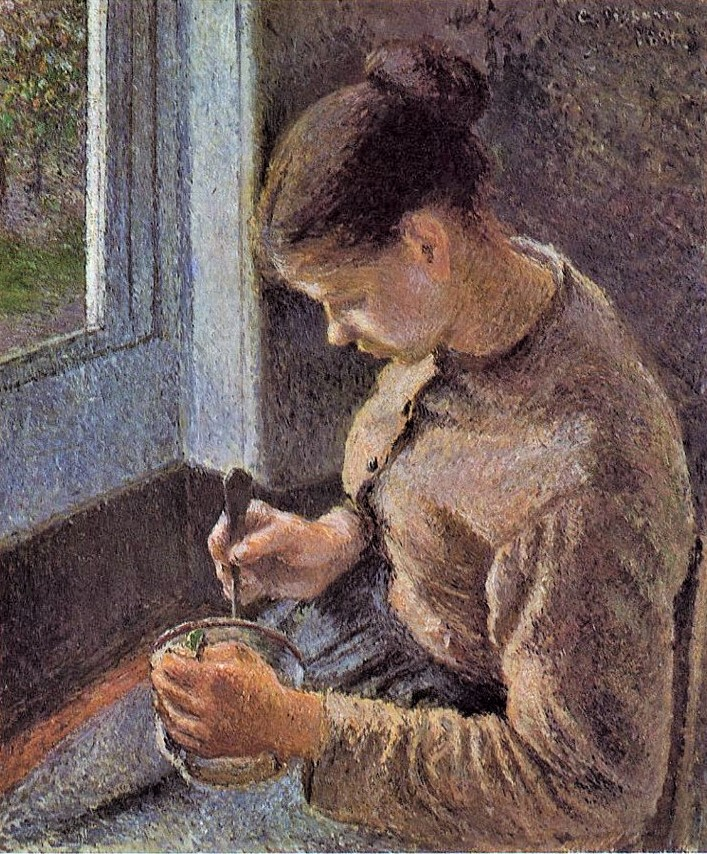 Camille Pissarro, 7IE-1882-111, Jeune paysanne prenant son café. Now: 1881, CCP662, Café au lait (the breakfast), 64x54, AI Chicago