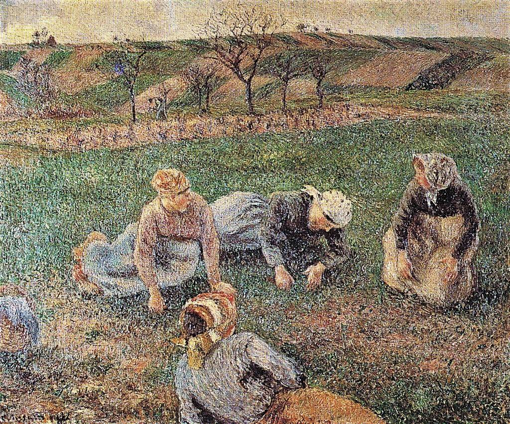 Camille Pissarro, 7IE-1882-112, Les sarcleuses. Now: 1882, CCP671, Peasant women weeding, Pontoise, 63x77, private