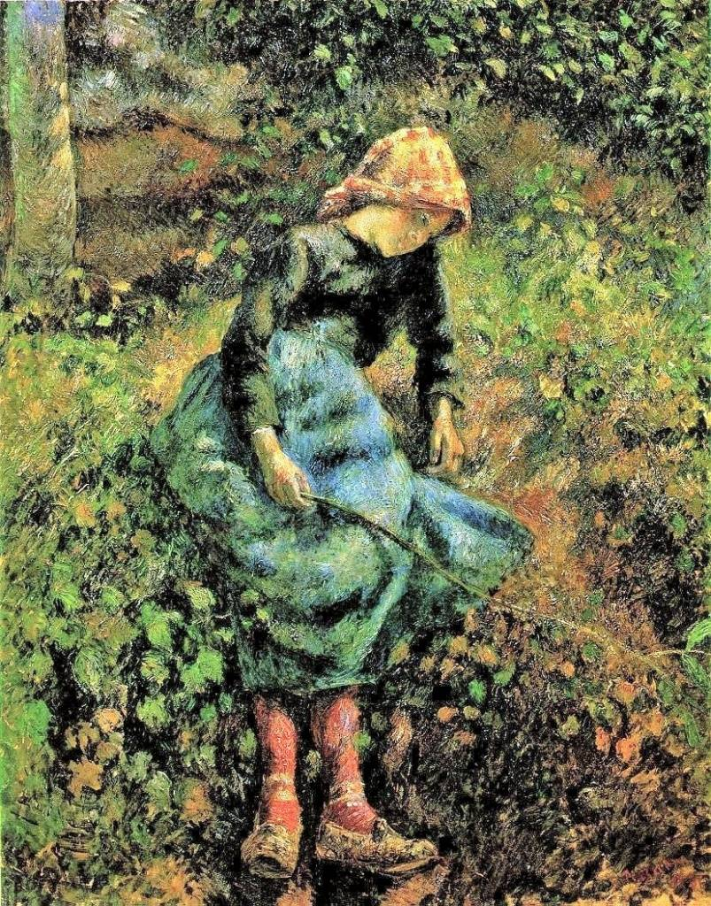 Camille Pissarro, 7IE-1882-114, La Bergère. Now: 1881, CCP653, the shepherdess (young peasant girl with stick), 81x65, Orsay