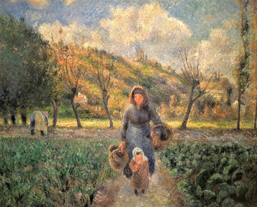 Camille Pissarro, 7IE-1882-117, Paysanne et enfants revenant des champs. Now: 1881, CCP649, Peasant woman and child returning from the fields, Auvers, 46x55, NG Prague