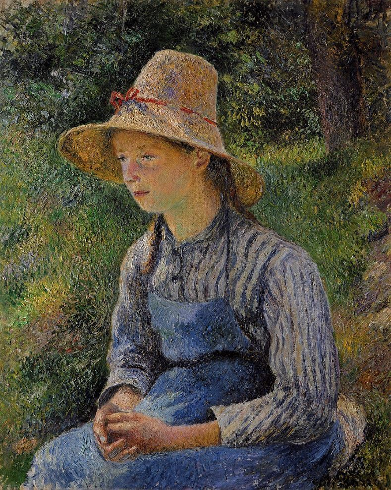 Camille Pissarro, 7IE-1882-118, Jeune paysanne au chapeau. Now: 1881, CCP661, young peasant girl wearing a straw hat, 73x60, NGA Washington