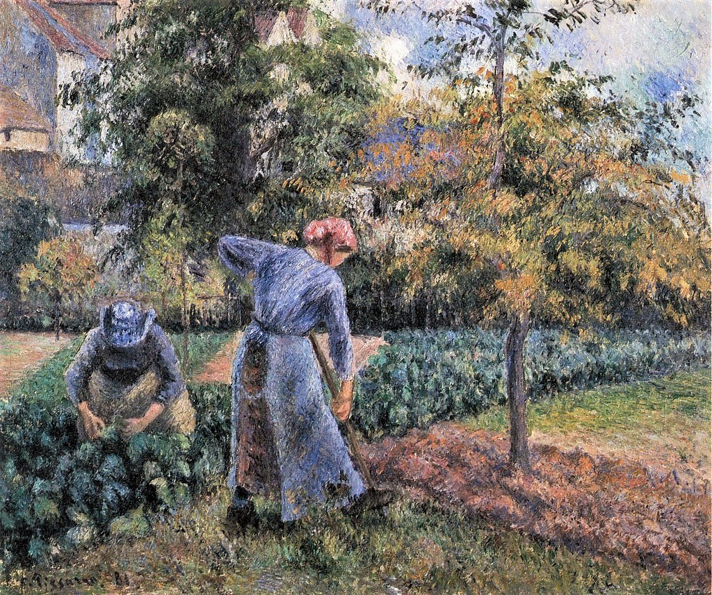Camille Pissarro, 7IE-1882-119, Paysanne bêchant la terre. Now: 1881, CCP646, Peasant woman digging (Jardin de Maubuisson), 46x55, private