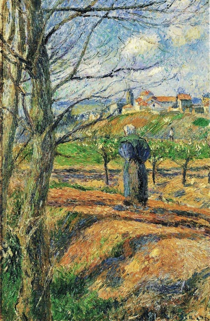 Camille Pissarro, 7IE-1882-121, Vue de la prison de Pontoise. Now: 1881, CCP641, View of the new prison (peasant woman in a field), 40x26, private