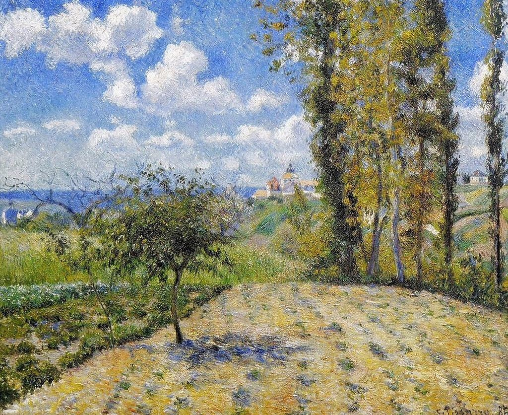 Camille Pissarro, 7IE-1882-125, Vue de la nouvelle prison à Pontoise. Now: 1881, CCP643, View of the new prison, Pontoise, Spring, 60x74, private